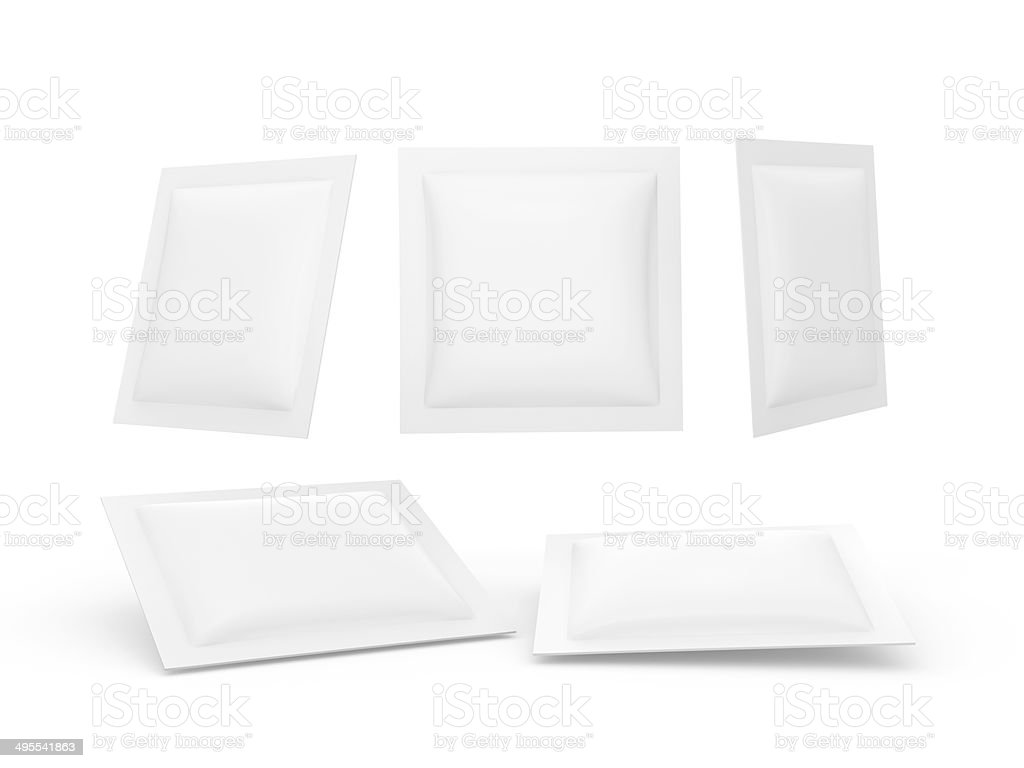 White square heat sealed packet with clipping path stock photo