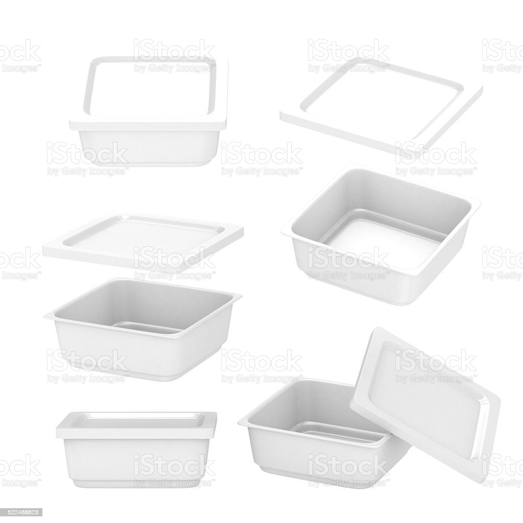 White  square plastic container for food production with clipping path stock photo