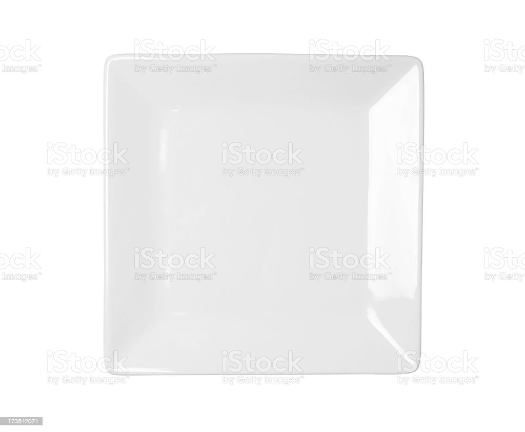 White square plate on a white background stock photo