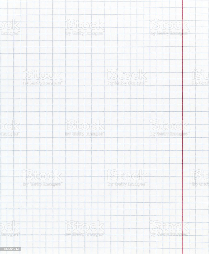 white squared paper page with red margin stock photo