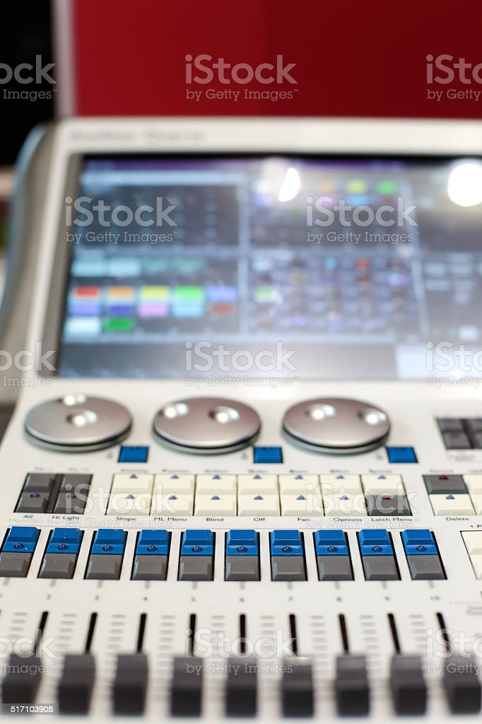 White stage controller sliders stock photo