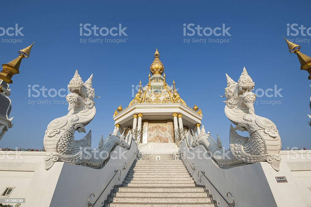 White stair go to temple royalty-free stock photo
