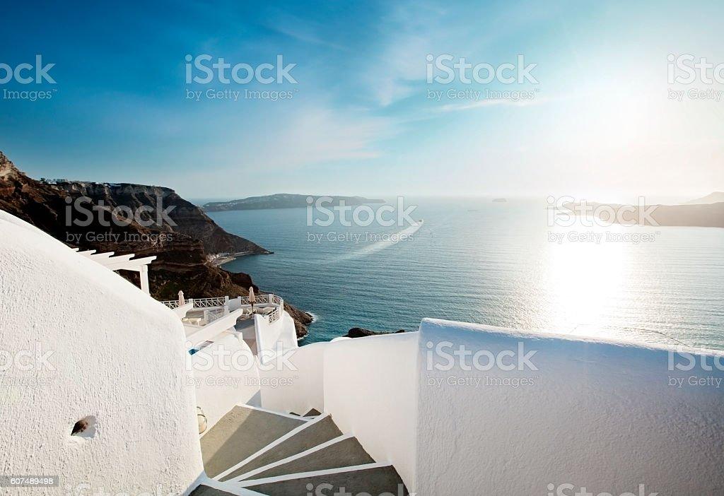 White staircase and Mediterranean sea view on Santorini Greece stock photo