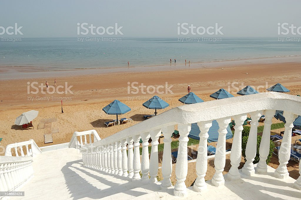 White staircase at the beach of luxury hotel stock photo
