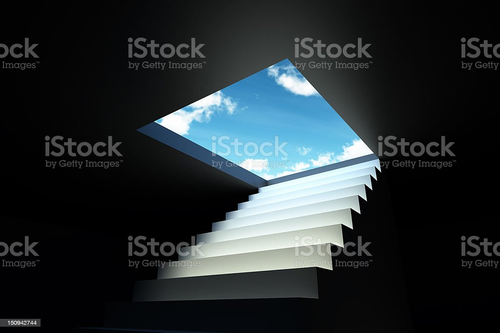 White stairs to blue sky from dark room stock photo