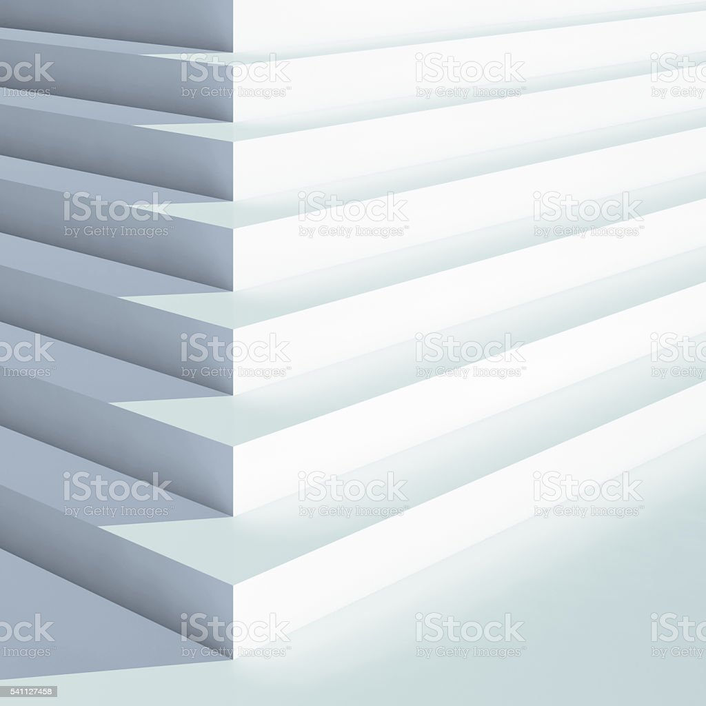 White stairs with blue shadow, 3d render stock photo