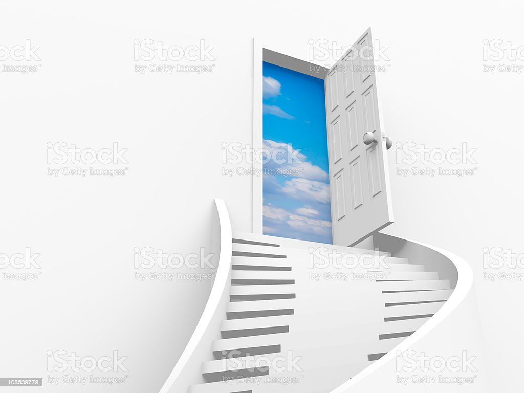 A white stairway leading to an open door to sky and clouds stock photo