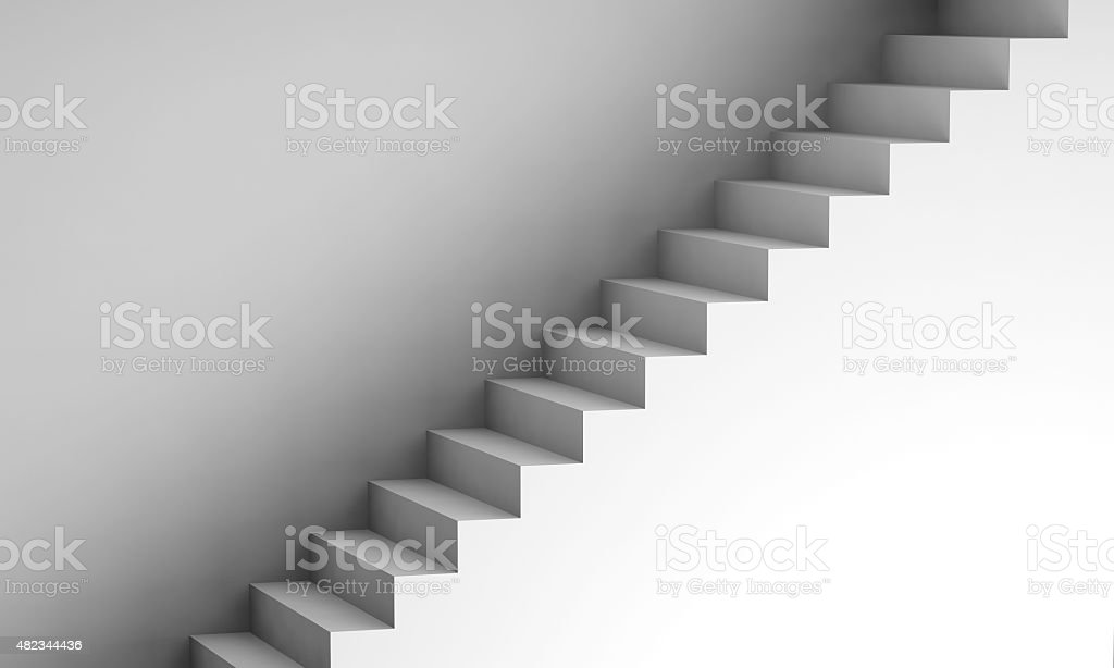 White stairway on the wall, 3d interior background stock photo