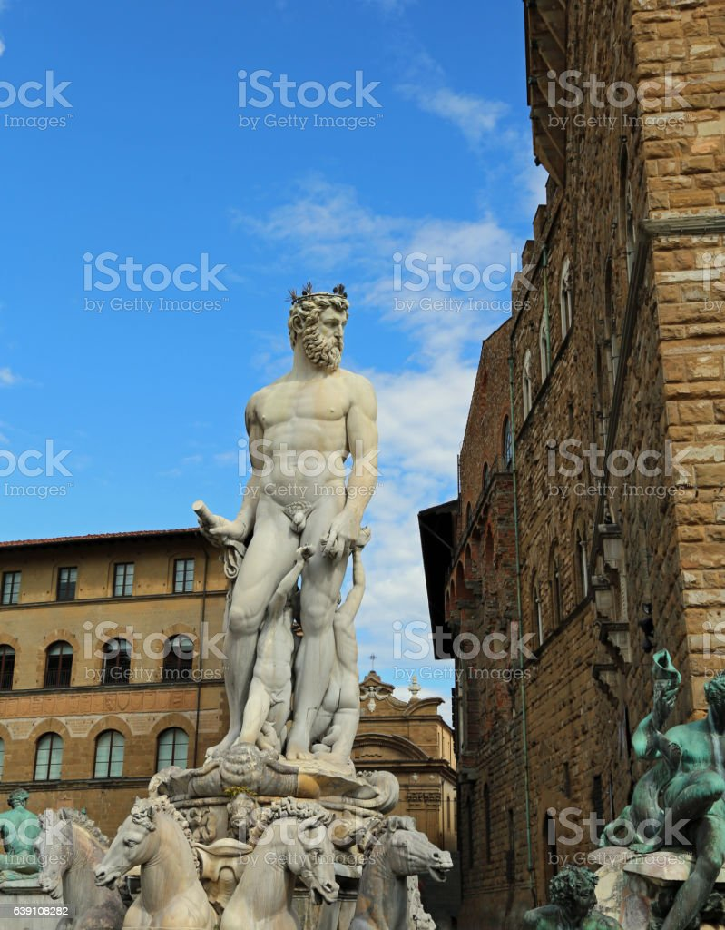 FLORENCE White statue of Neptune in the ancient fountain i stock photo