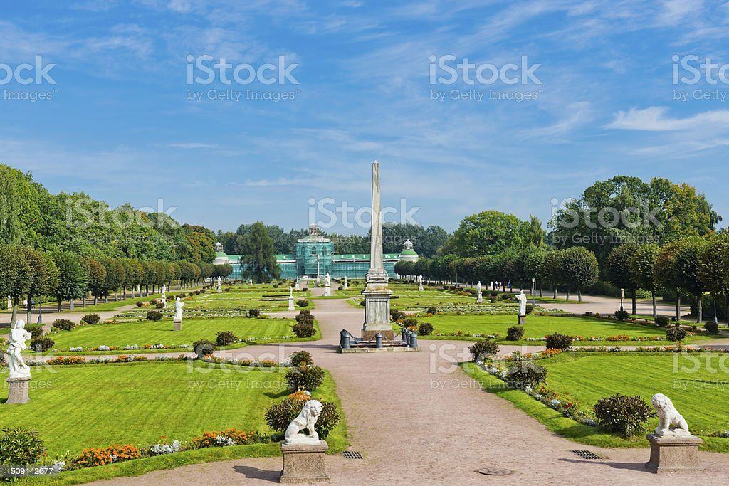 White statues in the Park of Kuskovo. Moscow stock photo