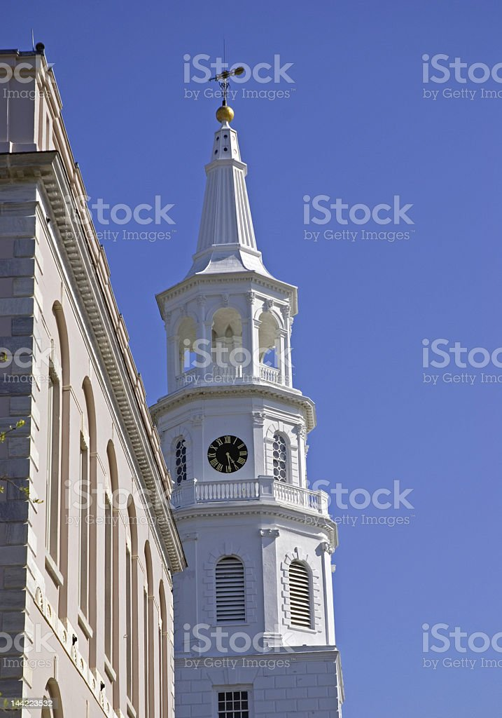 White Steepled Church in Charleston royalty-free stock photo
