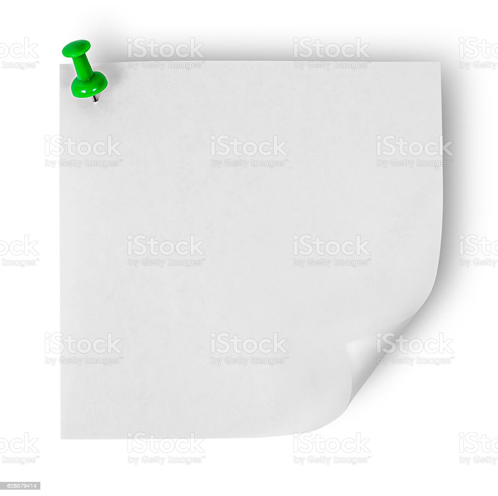 White sticker with wrapped up corner pinned green office pin stock photo