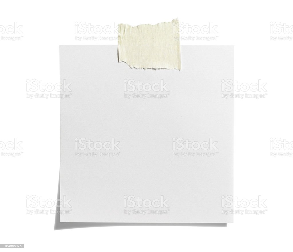 White Sticky Note with  Adhesive Tape royalty-free stock photo