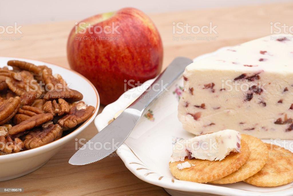 White Stilton cheese with cranberries stock photo