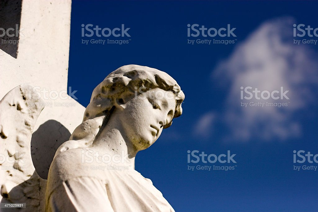 white stone angel statue royalty-free stock photo