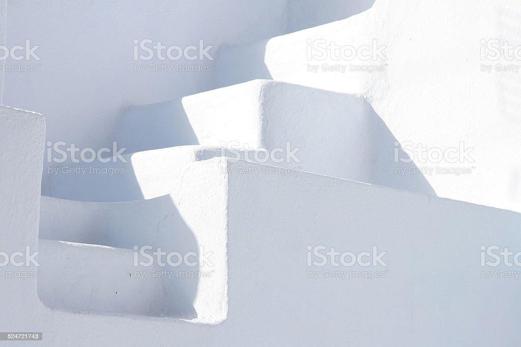 White stone minimalist staircase, Oia, Santorini, Greece. stock photo