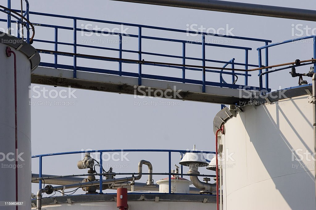 White storage tanks with walking bridge royalty-free stock photo