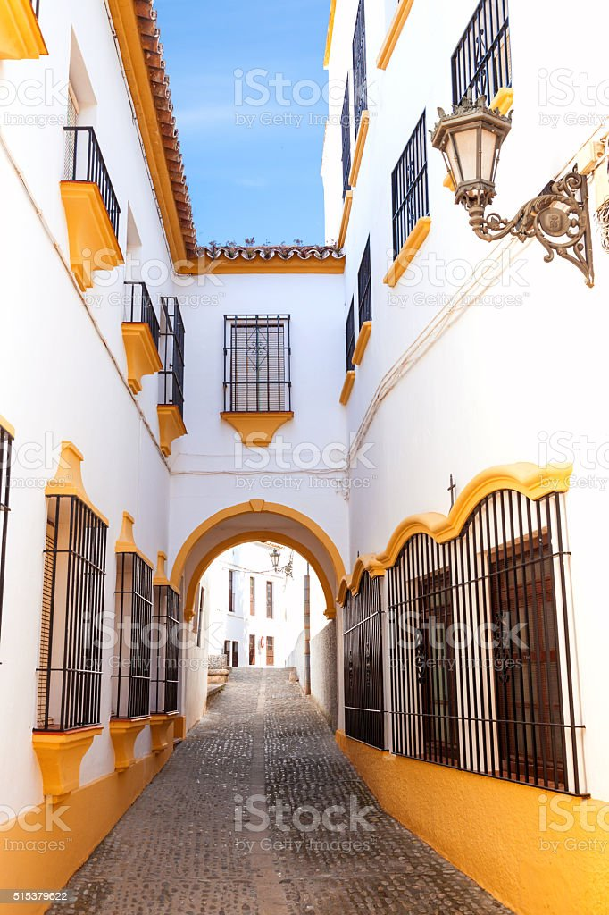 White street in Ronda, Malaga, Spain stock photo