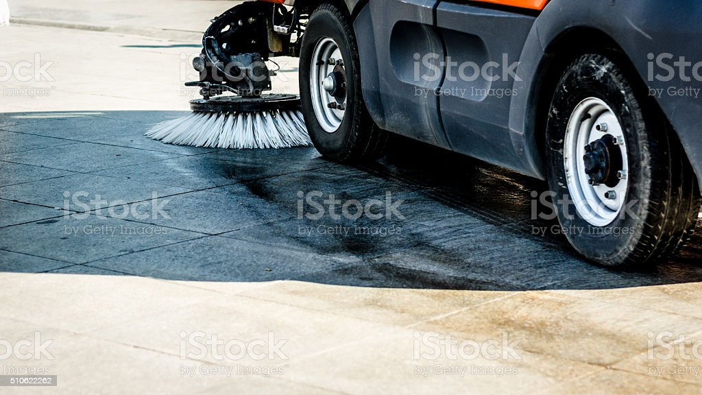 White Street Sweeper in Action stock photo