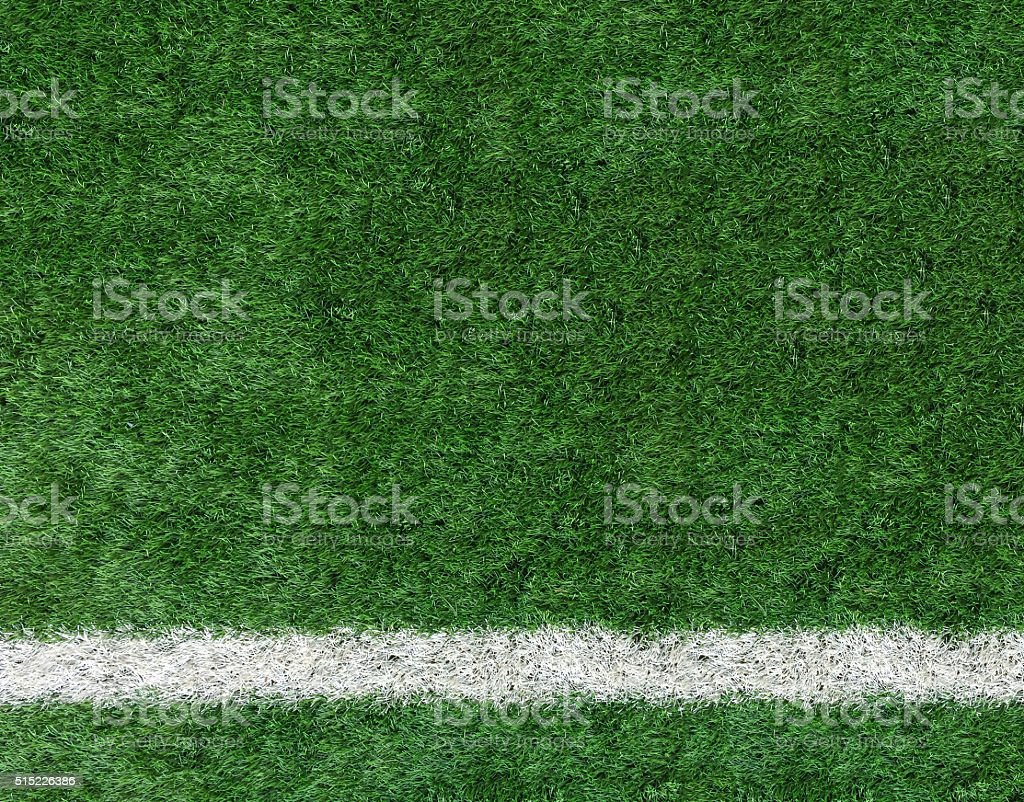 White Stripe Line on The Green Soccer Field Top View stock photo