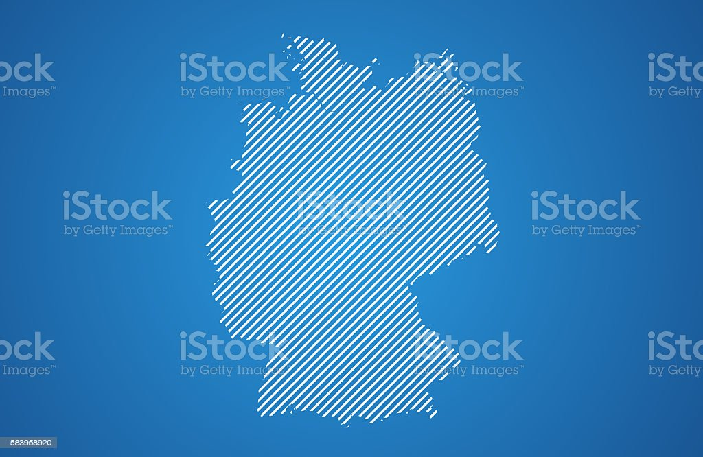 White striped Germany map on gradient background stock photo