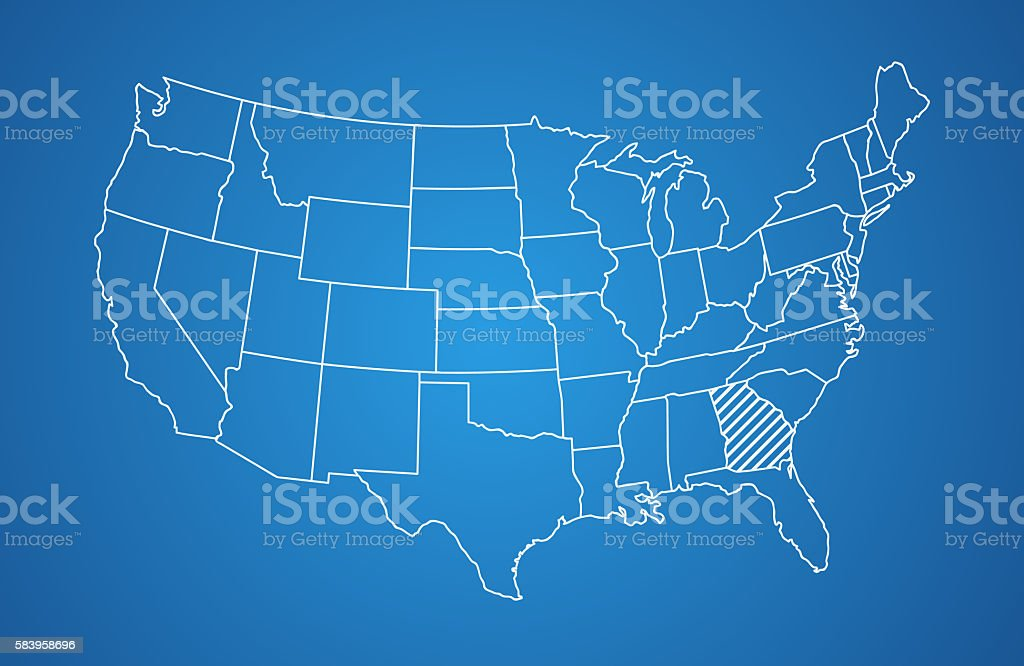 White striped United States map on gradient background stock photo