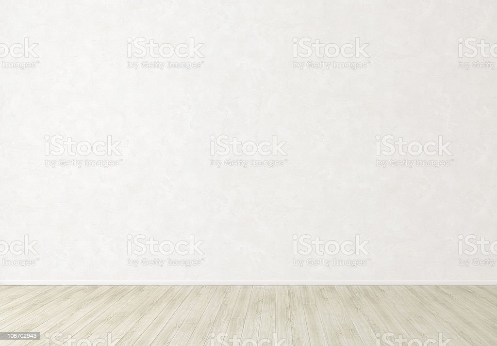 White Stucco Wall in Empty Indoor Room Background stock photo
