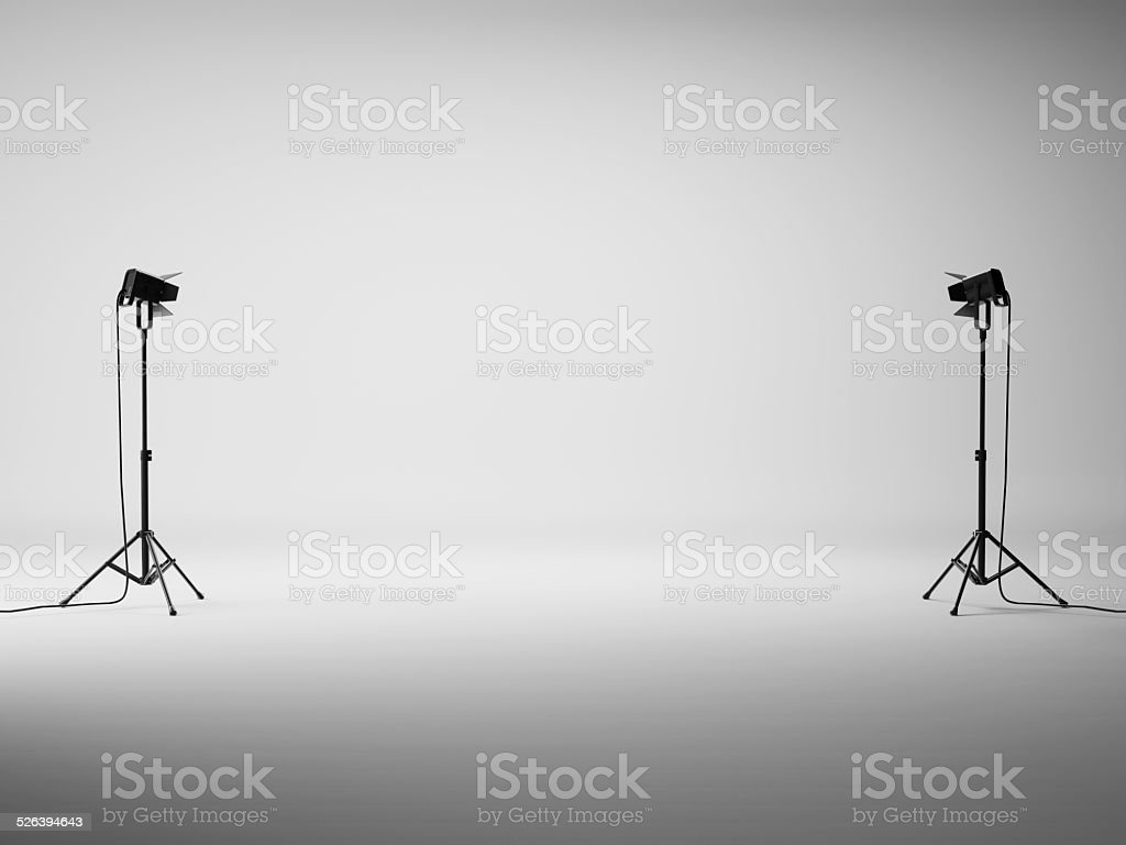 White studio with lights stock photo