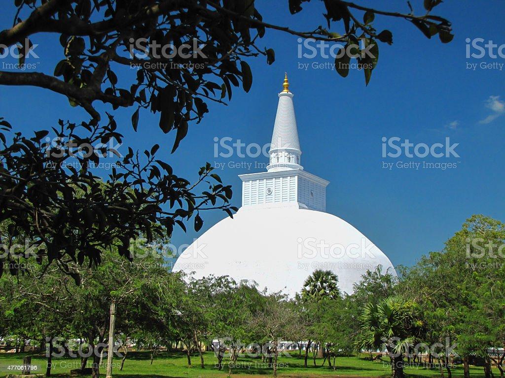 white stupa in Anuradhapura, Sri Lanka stock photo