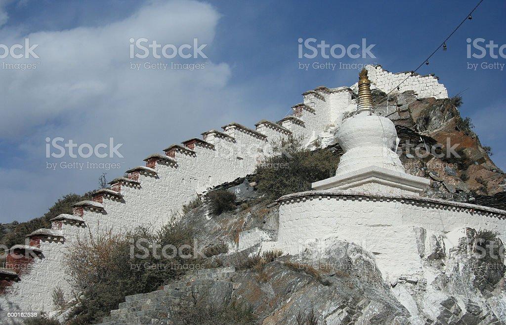 White stupa in Lhasa stock photo