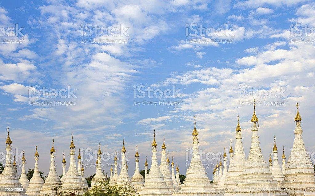 White Stupas, Mandalay, Myanmar stock photo