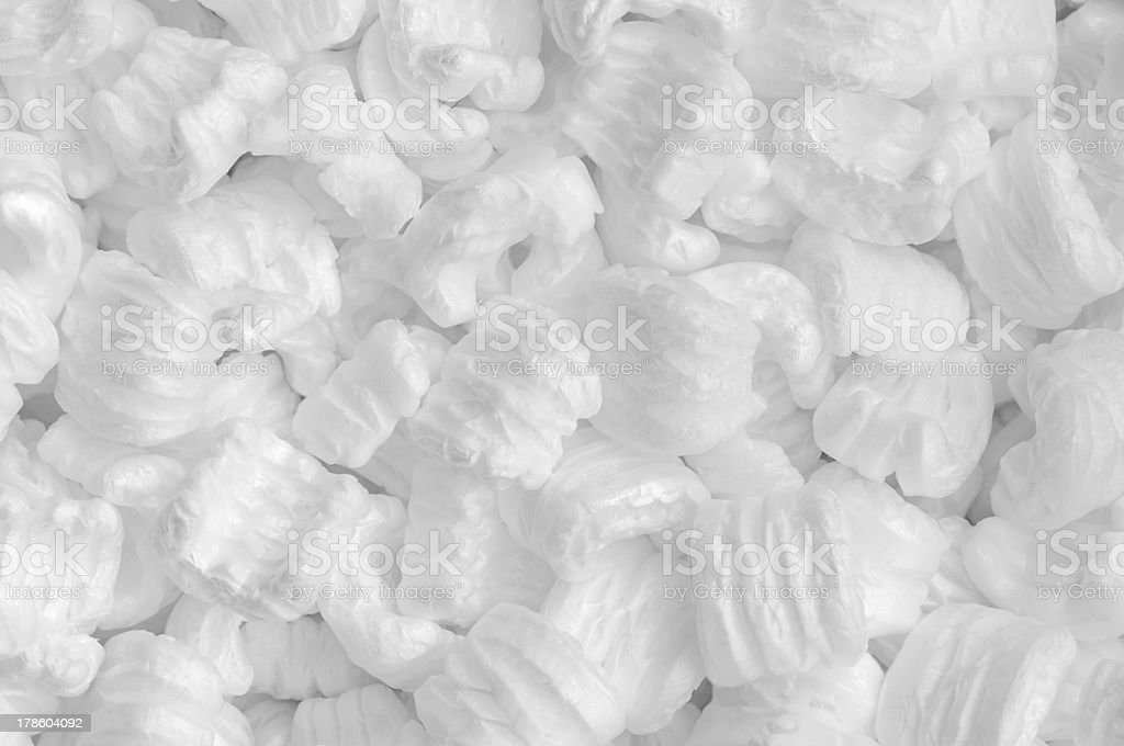 White Styrofoam packing pellets stock photo