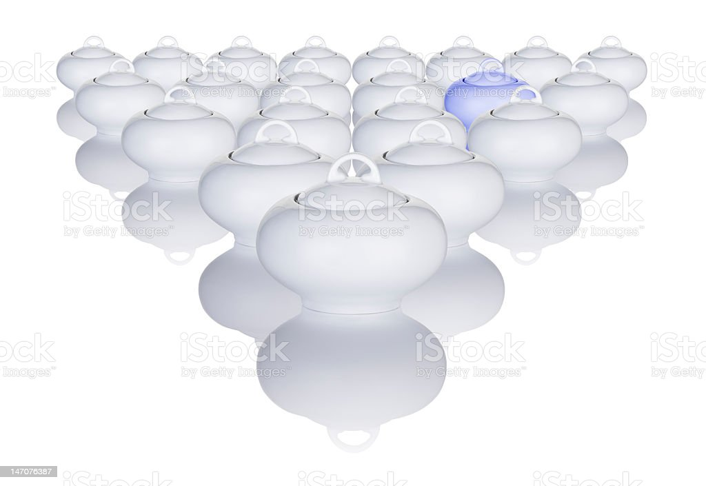 White Sugar Bowls Arranged In A Pattern With One Difference royalty-free stock photo