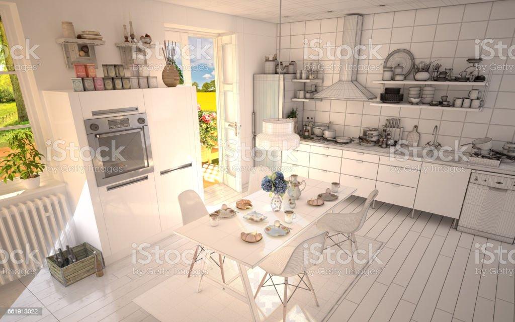 White Summer Kitchen half Wireframe stock photo