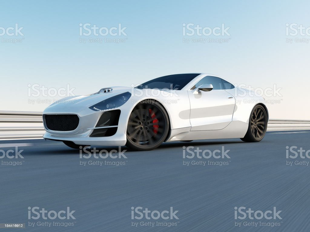 white super car on the racing track royalty-free stock photo