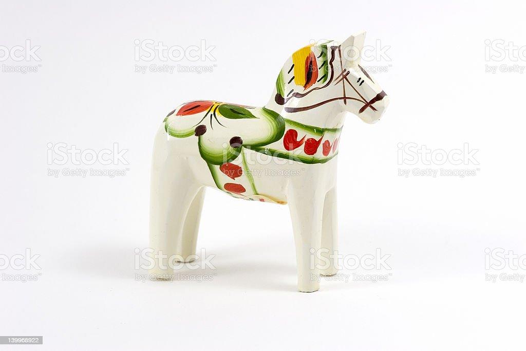 White Swedish Dala Horse stock photo