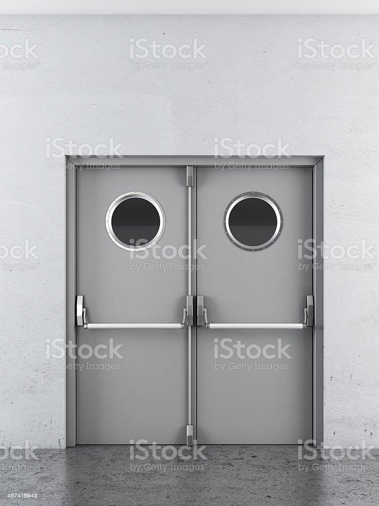 White swing doors stock photo