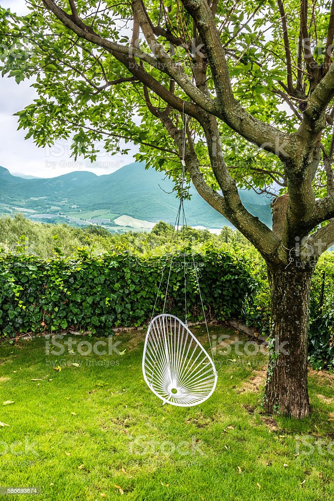 White swing hanging on a tree stock photo