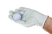 White synthetic microfiber Golf glove with a golf ball