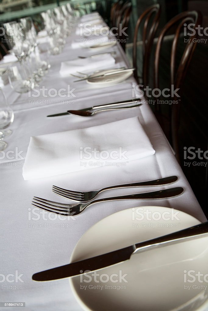 White table setting stock photo