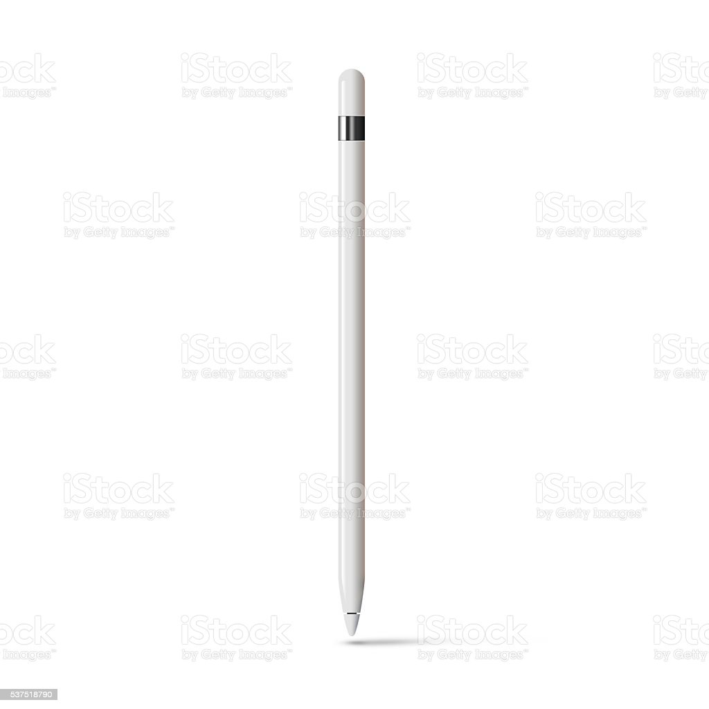 White tablet stylus graphic pencil stick isolated stock photo