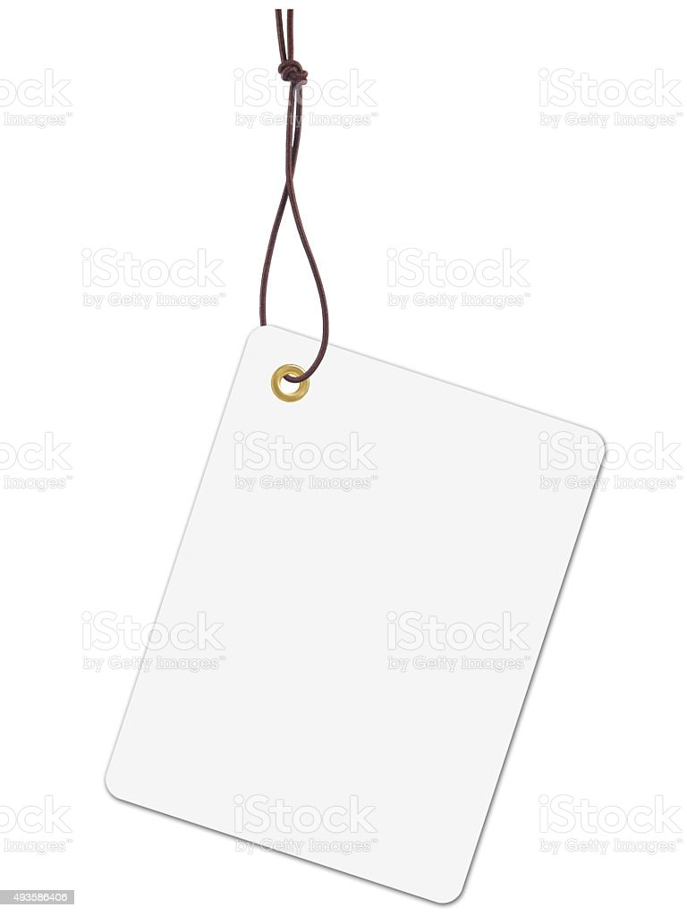 White tag label with string stock photo