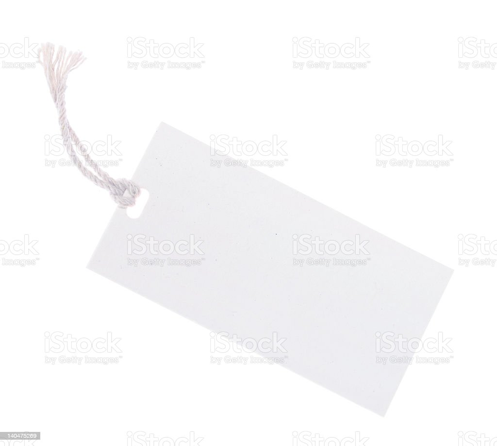White Tag (with clipping path) royalty-free stock photo