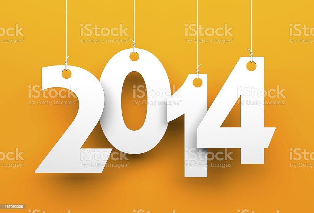 White tags with 2014 on orange background stock photo