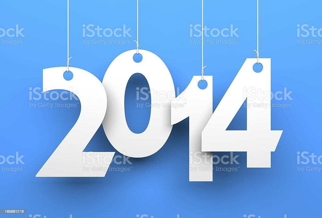 White tags with 2014 stock photo