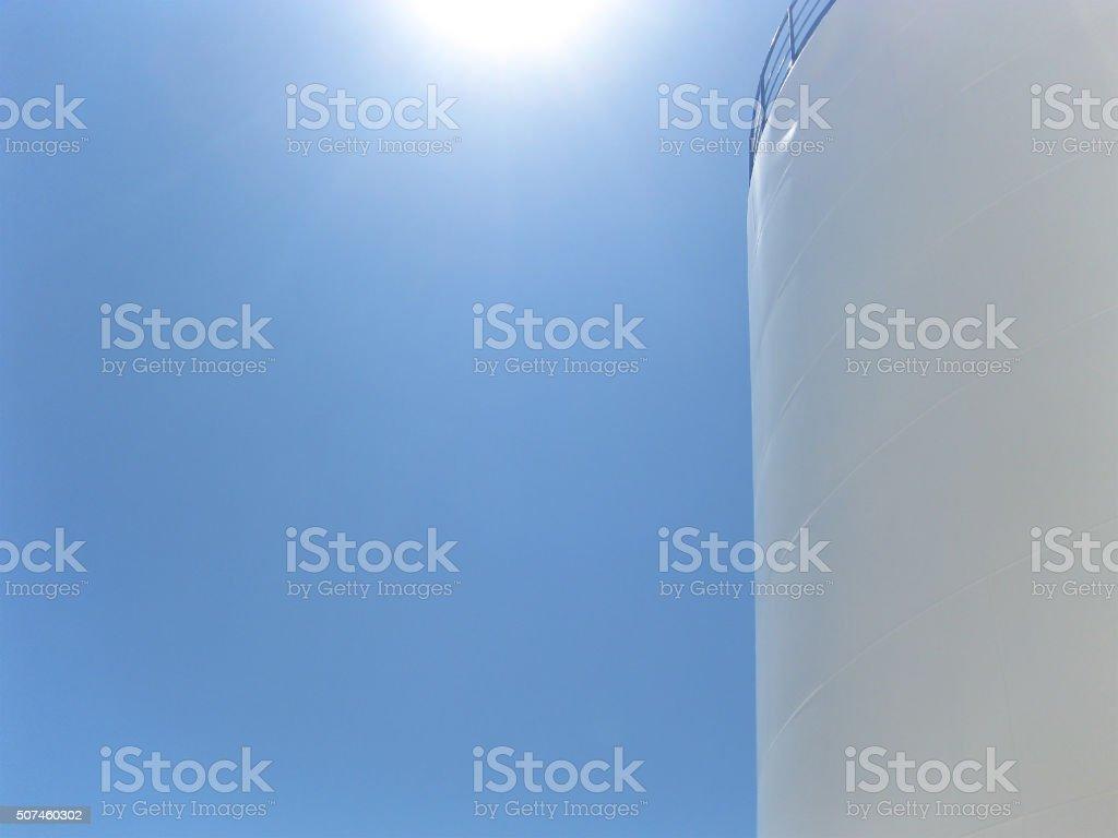 White tank in the sun. stock photo