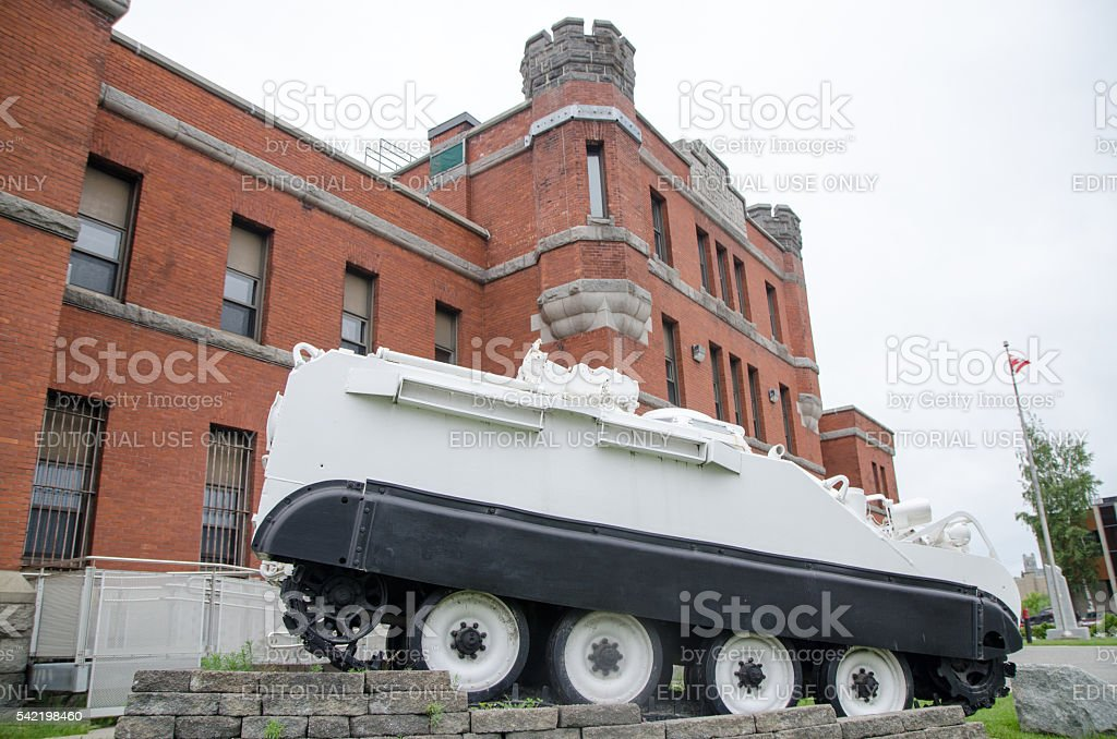 White tank serving as a memorial of soldiers stock photo