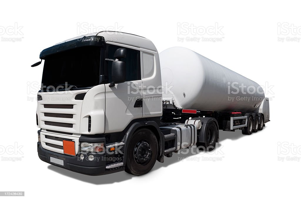 White tank truck viewed from front stock photo