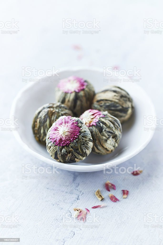 White Tea Balls with Lychee Flower royalty-free stock photo