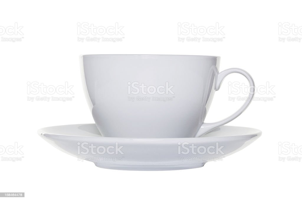 White tea cup and saucer cut out stock photo